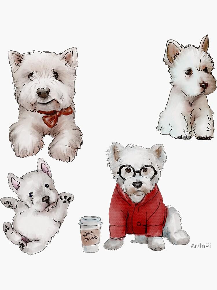 Westies Dogs Sticker Set by ArtInPi