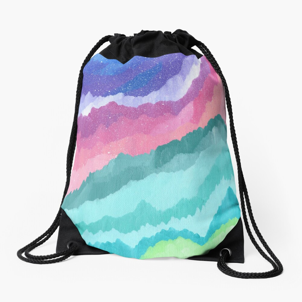 Acrylic Mountains #1 Drawstring Bag