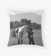 Horse and Groom Throw Pillow