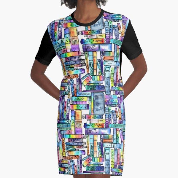 Rainbow Books - white background Graphic T-Shirt Dress