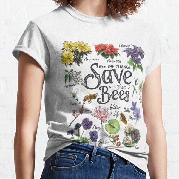 Save The Bees Flowers Honey Bee Decline Clipart  Classic T-Shirt