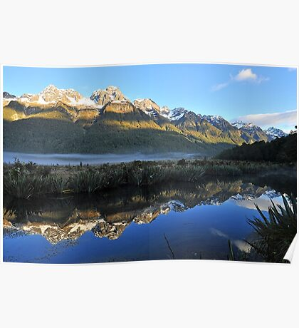 Mirror Lakes On The Way To Miford Sound. South Island, New Zealand. Poster