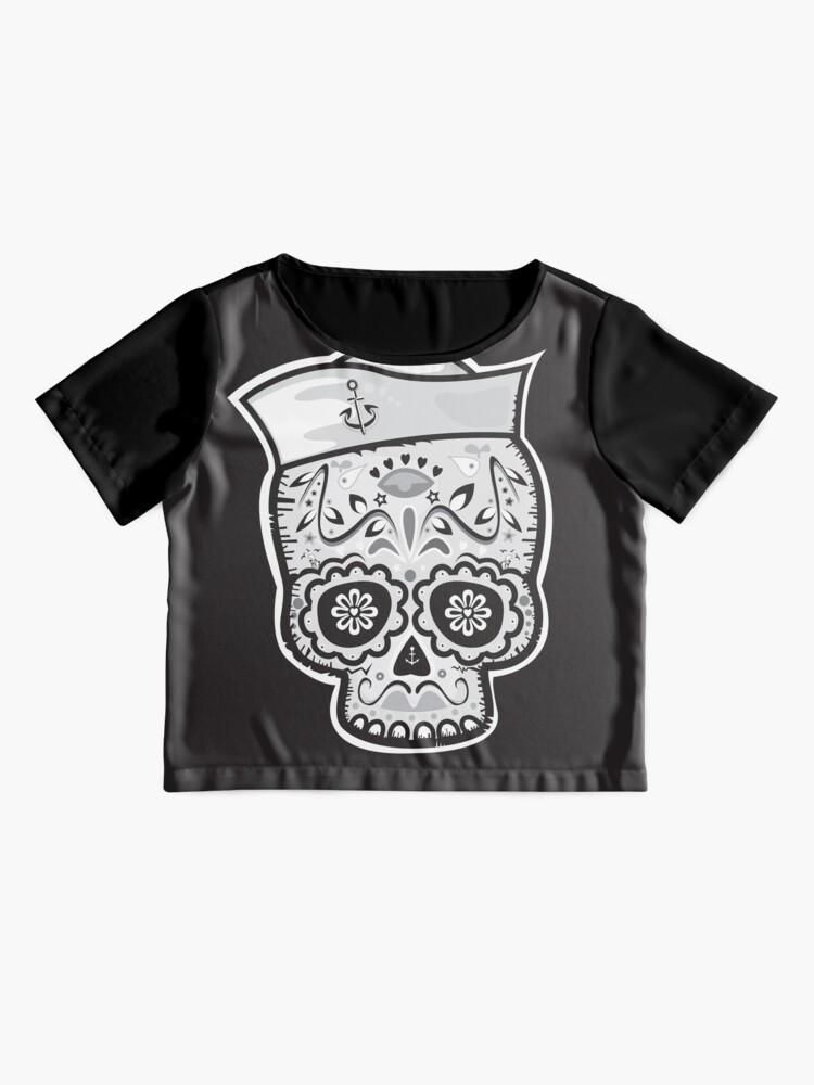 Alternate view of Marinero muerto sugar skull Chiffon Top