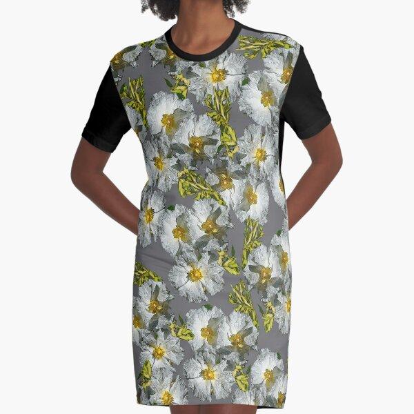 SUMMER WHITE ROCKROSE SIMPLE PATTERN Graphic T-Shirt Dress