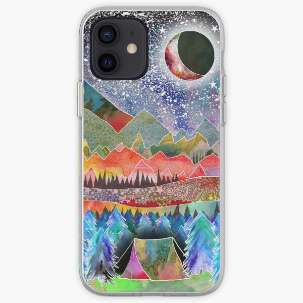 Camping under the moon iPhone Soft Case