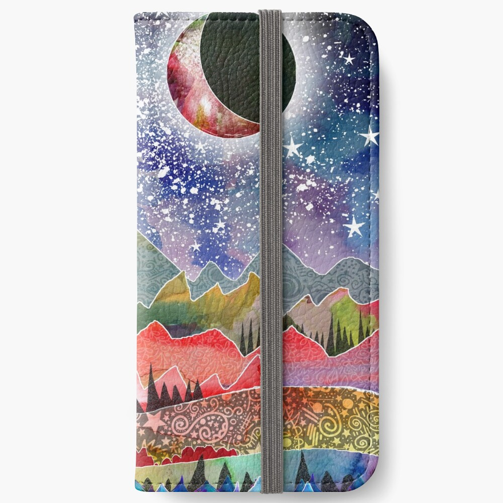 Camping under the moon iPhone Wallet