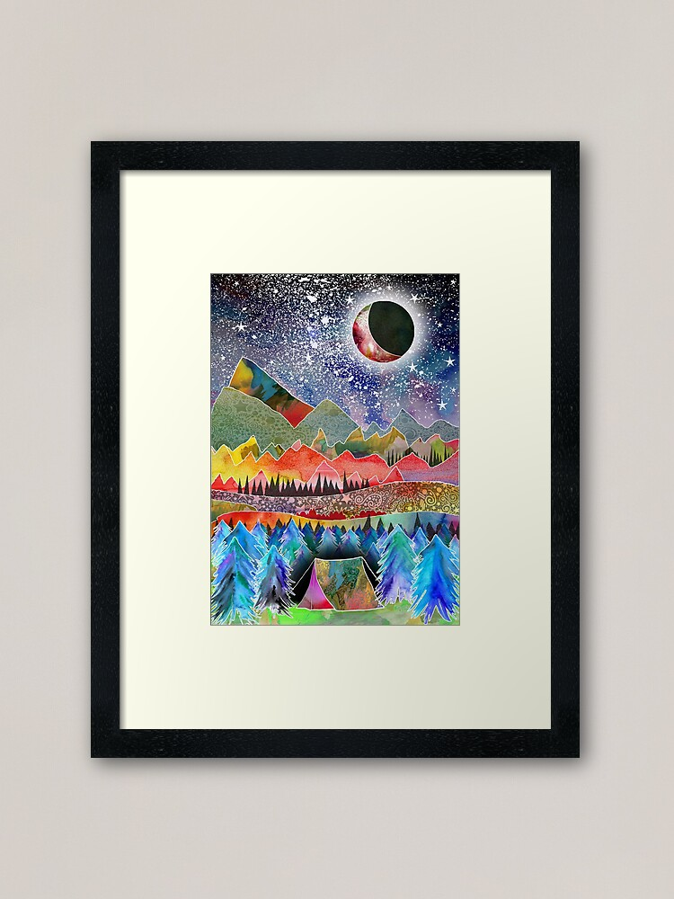 Alternate view of Camping under the moon Framed Art Print