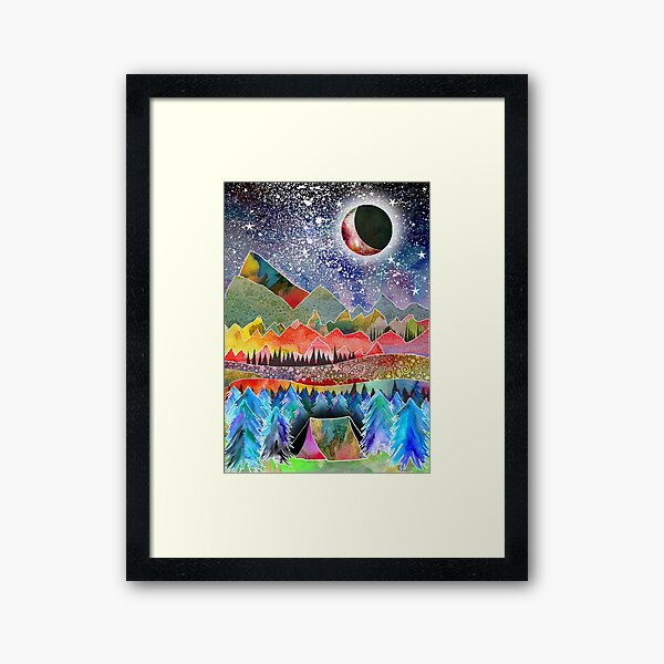 Camping under the moon Framed Art Print