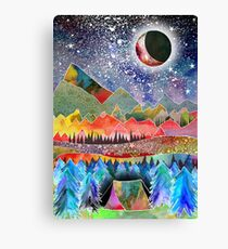 Camping under the moon Canvas Print