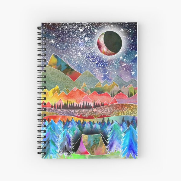 Camping under the moon Spiral Notebook