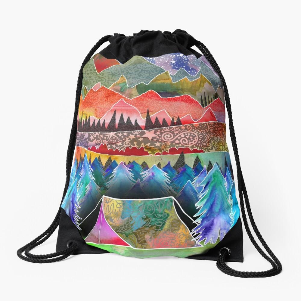 Camping under the moon Drawstring Bag