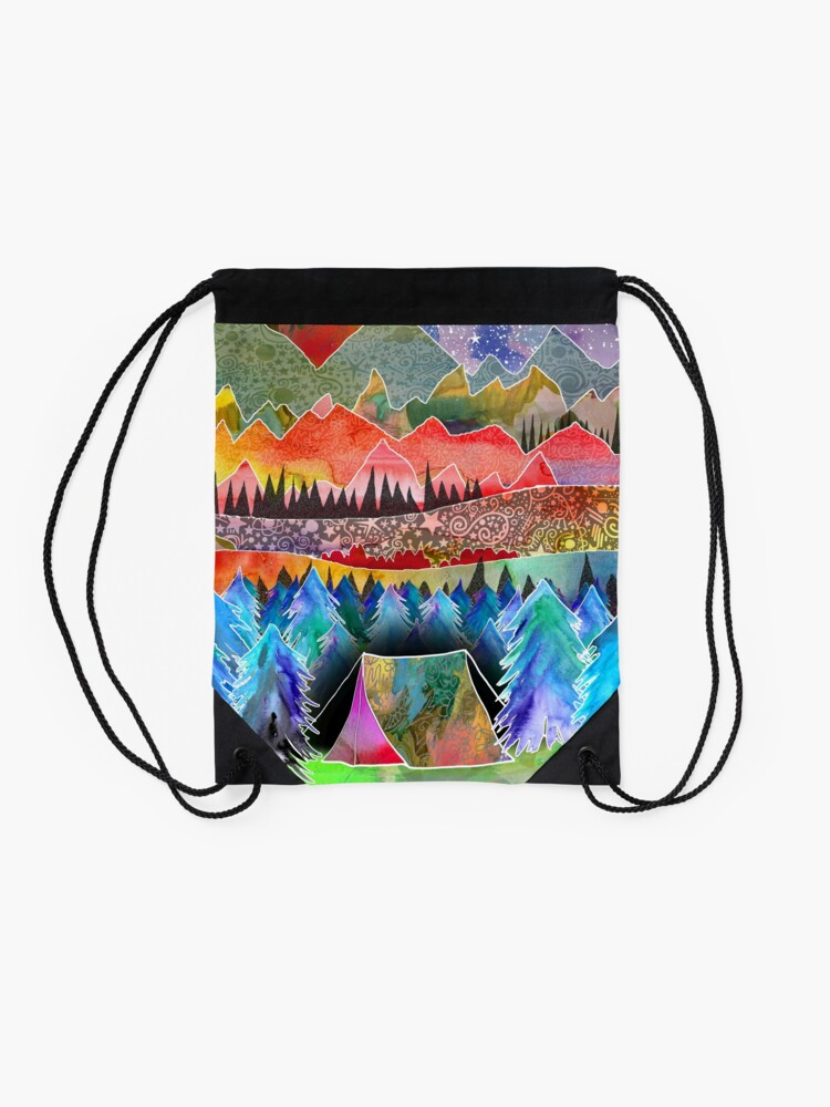Alternate view of Camping under the moon Drawstring Bag