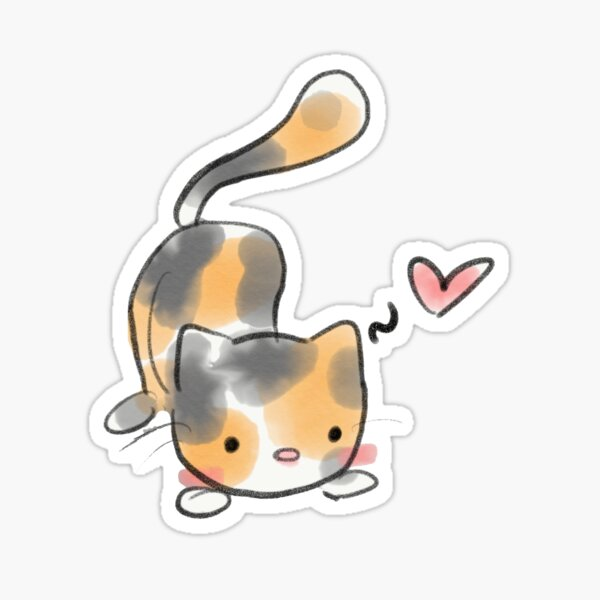 Watercolor Calico Cat Sticker