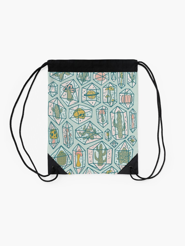 Alternate view of Crystals and Plants Drawstring Bag