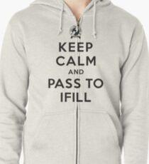 Keep Calm, Pass to Ifill (Black) Zipped Hoodie
