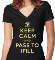 Keep Calm, Pass to Ifill (Yellow) Fitted V-Neck T-Shirt