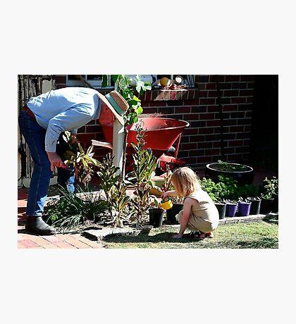 Gardening with Grandpa Photographic Print