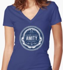 Amity Island Harbor Patrol Women's Fitted V-Neck T-Shirt