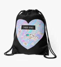 I need space (heart) Drawstring Bag