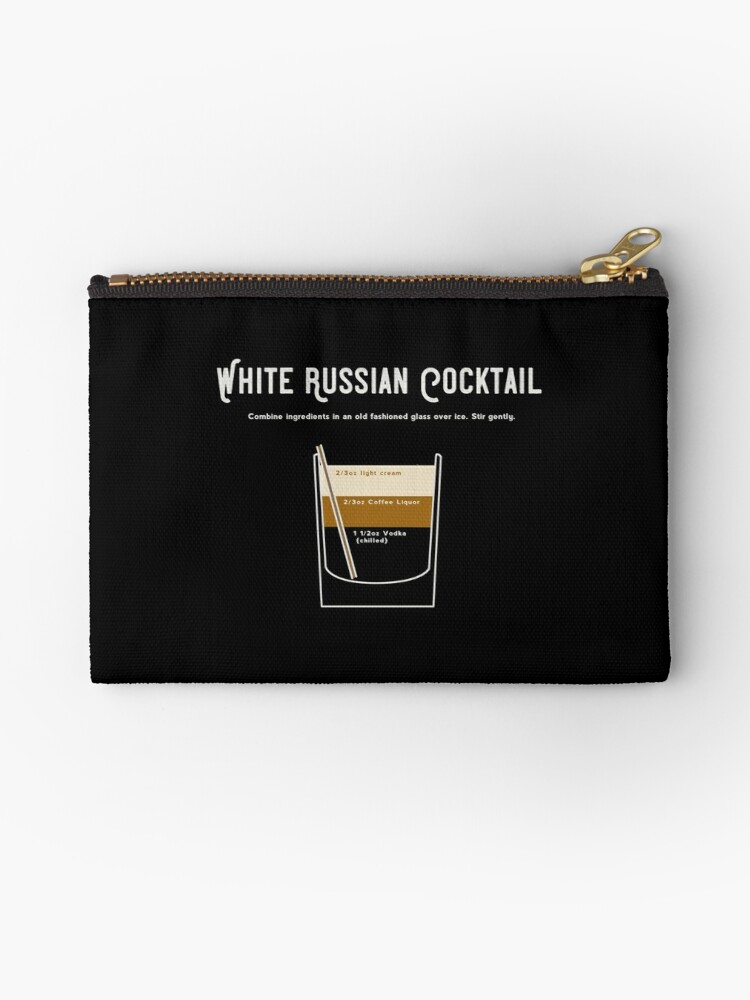 'The Dude White Russian Drink Cocktail Recipe Original T Shirt' Zipper  Pouch by Art-O-Rama