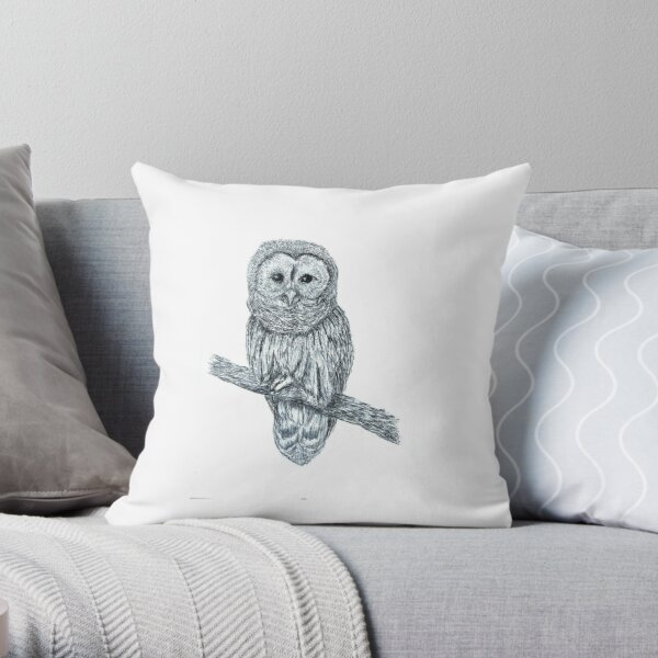 Little Barn Owl - Biro Drawing Animal Art Throw Pillow