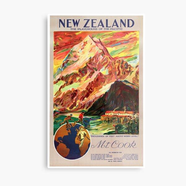New Zealand Mt. Cook Vintage Travel Poster Metal Print