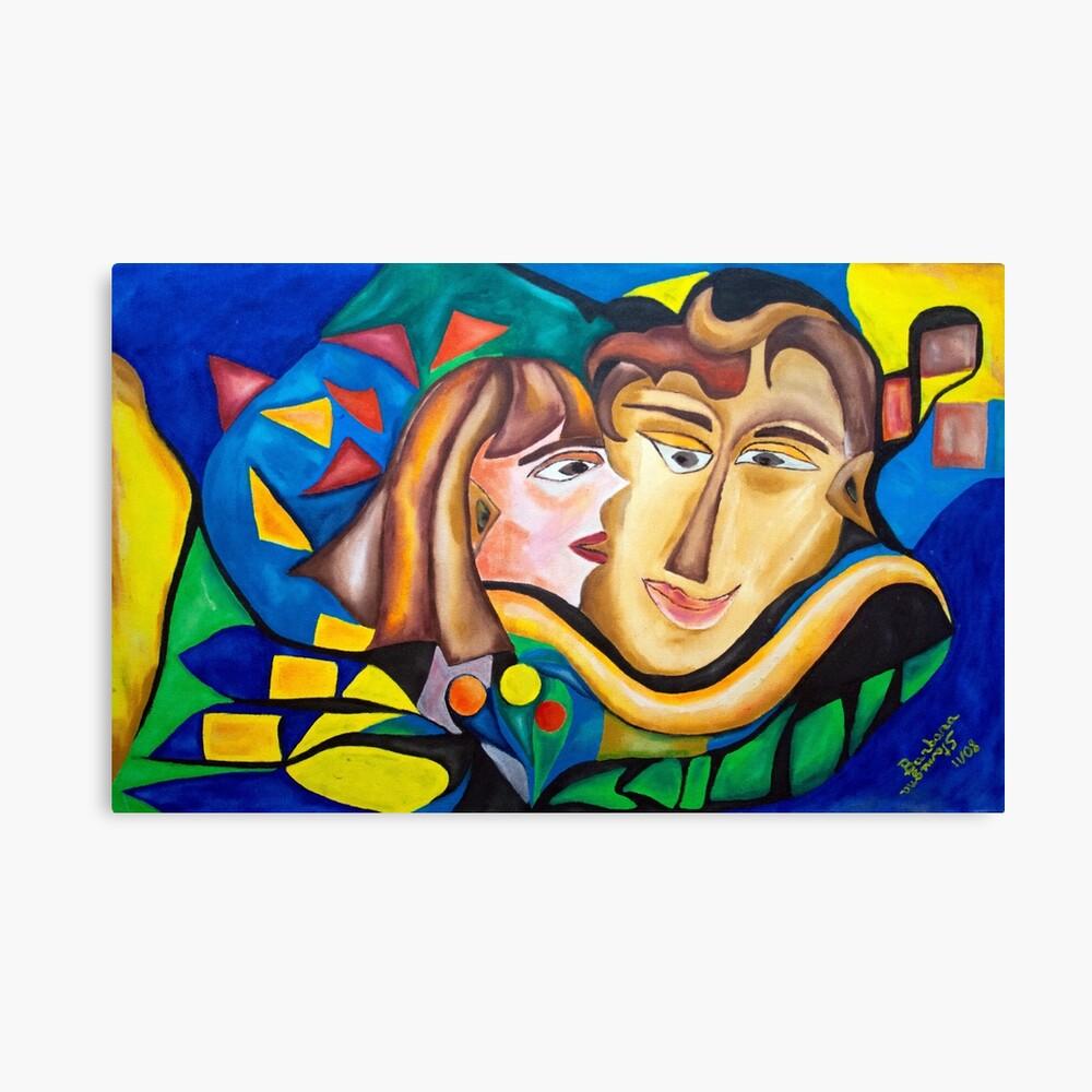 abstract kissing woman Canvas Print