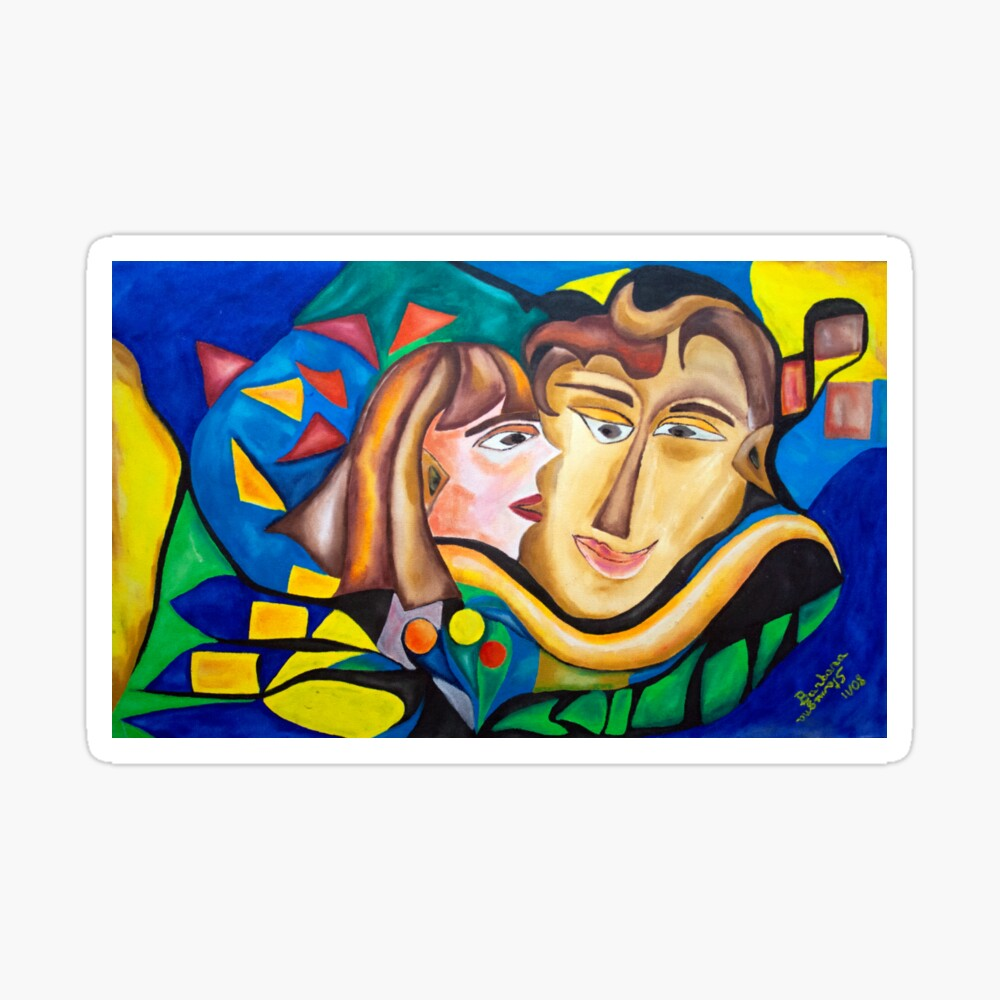 abstract kissing woman Sticker