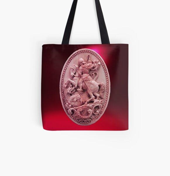 CAMÉO ANTIQUE / SAINT GEORGE ET DRAGON Rose Rouge Bordeaux Tote bag doublé