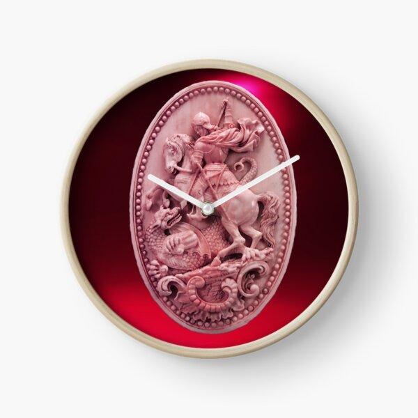 CAMÉO ANTIQUE / SAINT GEORGE ET DRAGON Rose Rouge Bordeaux Horloge