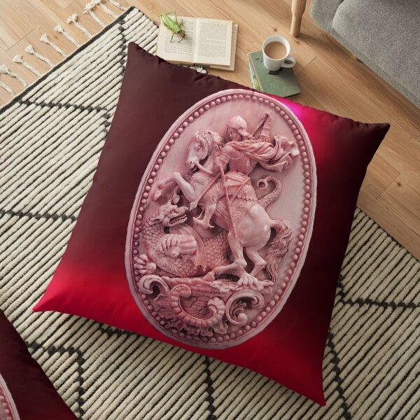 CAMÉO ANTIQUE / SAINT GEORGE ET DRAGON Rose Rouge Bordeaux Coussin de sol
