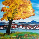 Landscape with a Golden Autumn Tree by Eliza Donovan