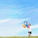 Summer Landscape with a Boy Holding a Bunch of Balloons by Eliza Donovan