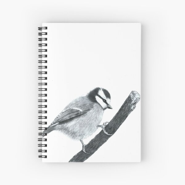 Blue Tit - graphite pencil drawing Spiral Notebook