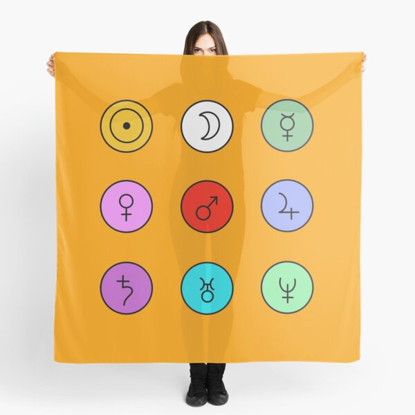 Planet Symbols or Glyphs Scarf