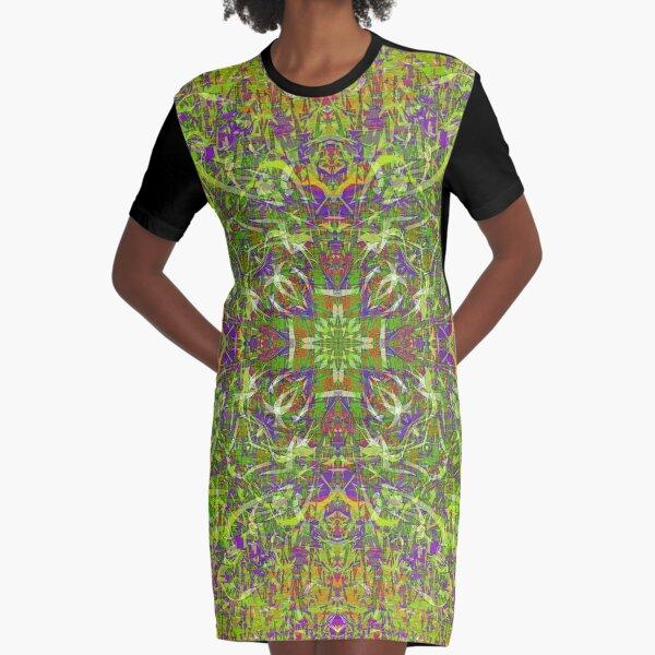 PSYCHEDELIC FIELD GRASS MANDALA  Graphic T-Shirt Dress