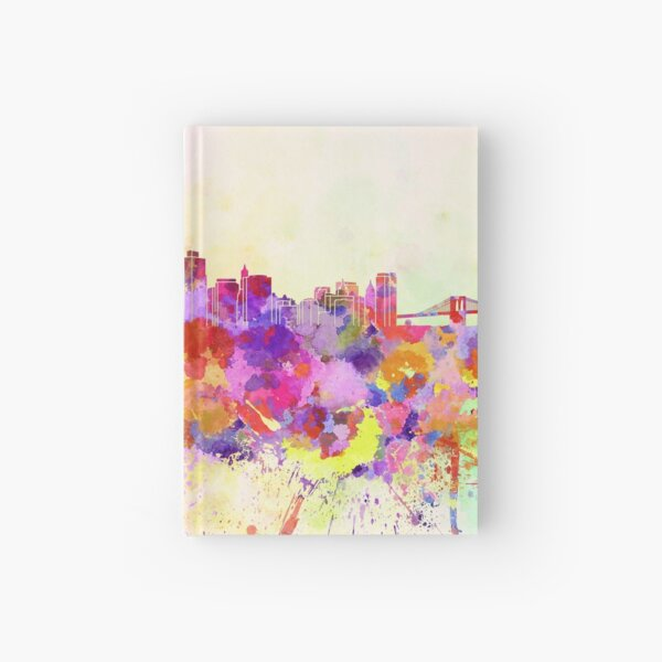 New York skyline in watercolor background Hardcover Journal