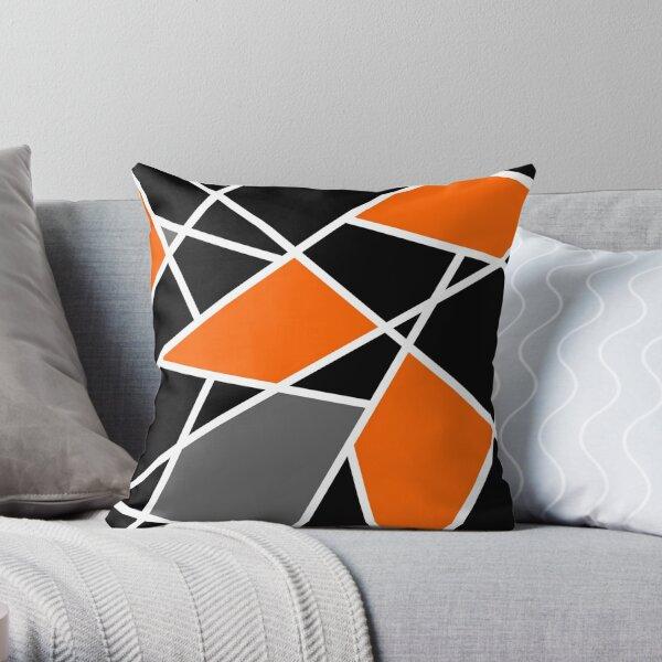 Geometric modern orange pattern Throw Pillow