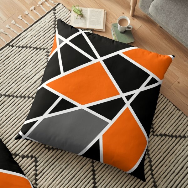 Geometric modern orange pattern Floor Pillow