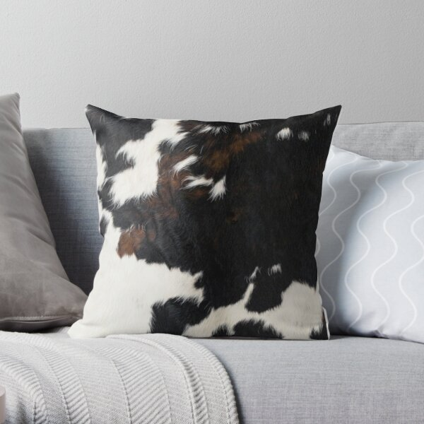 Cowhide Leather Throw Pillow