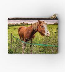 Two Horses Feeding In A Field Zipper Pouch