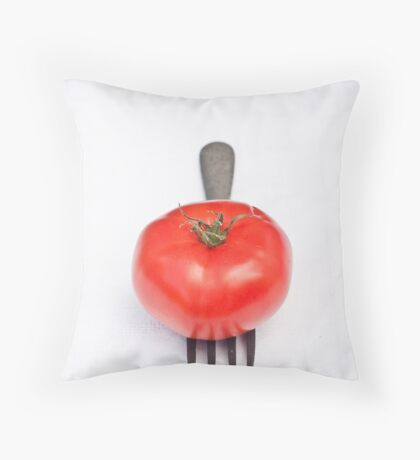 Tomato and Fork Throw Pillow