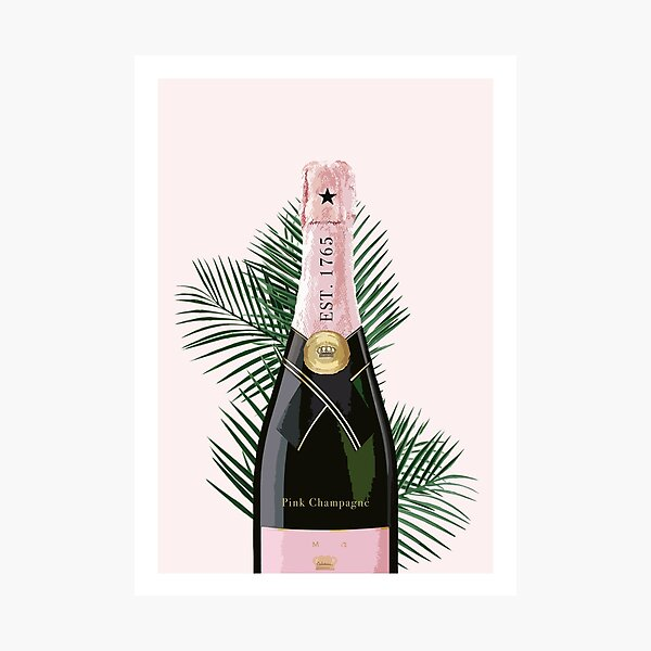 Pink Champagne Artwork Photographic Print