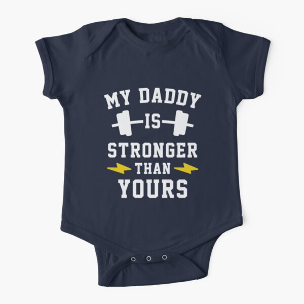 My Daddy Is Stronger Than Yours - TWINS Short Sleeve Baby One-Piece