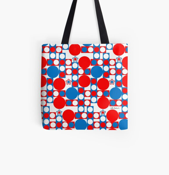 Red White and Blue Patriotic Print All Over Print Tote Bag