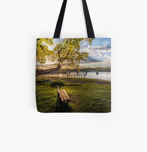 Seat Beside The Creek Fishbourne Isle Of Wight All Over Print Tote Bag