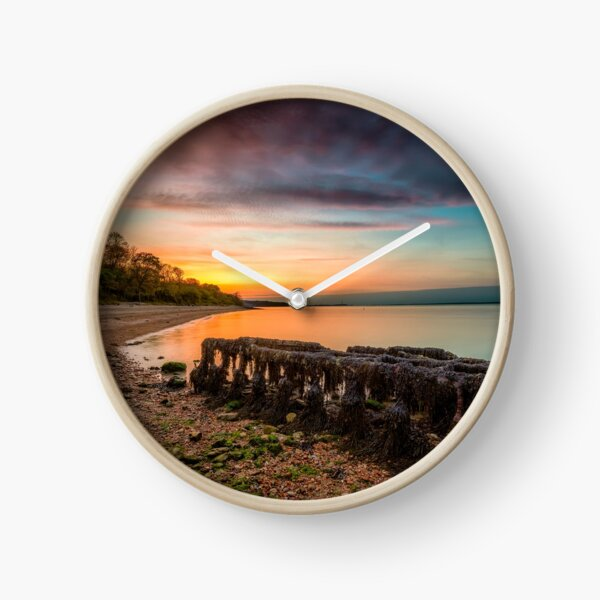 Woodside Beach Sunset Isle Of Wight Clock