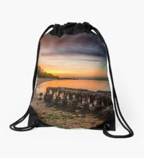 Woodside Beach Sunset Isle Of Wight Drawstring Bag