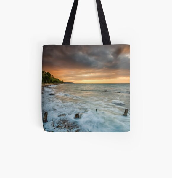 Woodside Beach Surf Sunset Isle Of Wight All Over Print Tote Bag