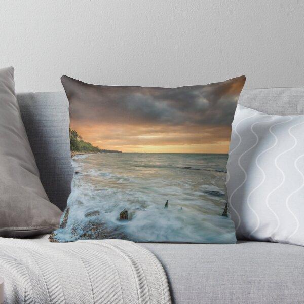 Woodside Beach Surf Sunset Isle Of Wight Throw Pillow